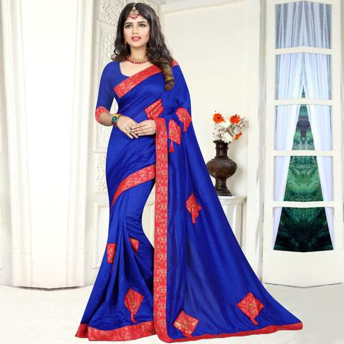 Flattering Royal Blue Colored Party Wear Art Silk Saree