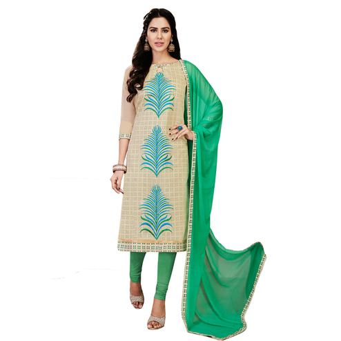Stylish Off-White Colored Casual Embroidered Chanderi Silk Dress Material