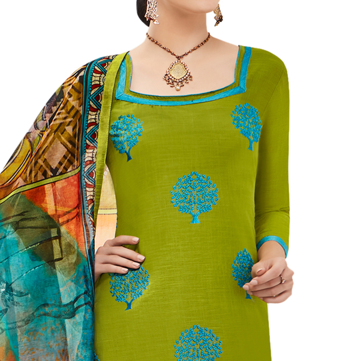 Innovative Green Colored Casual Embroidered Cotton Dress Material