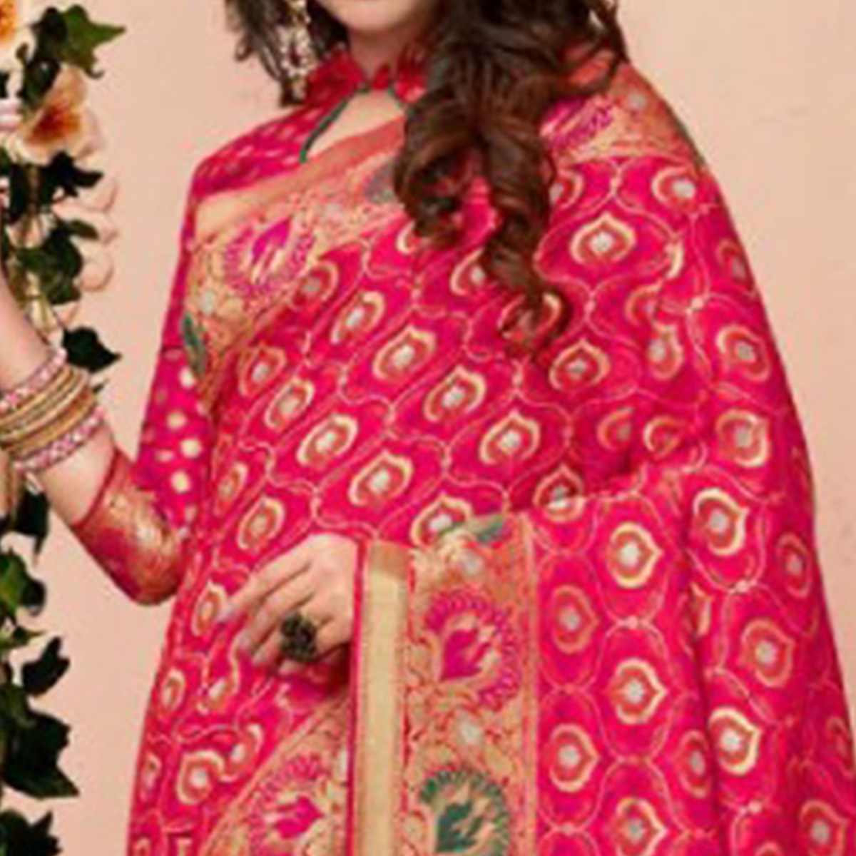 Gorgeous Pink Colored Partywear Woven Pure Banarasi Silk Saree