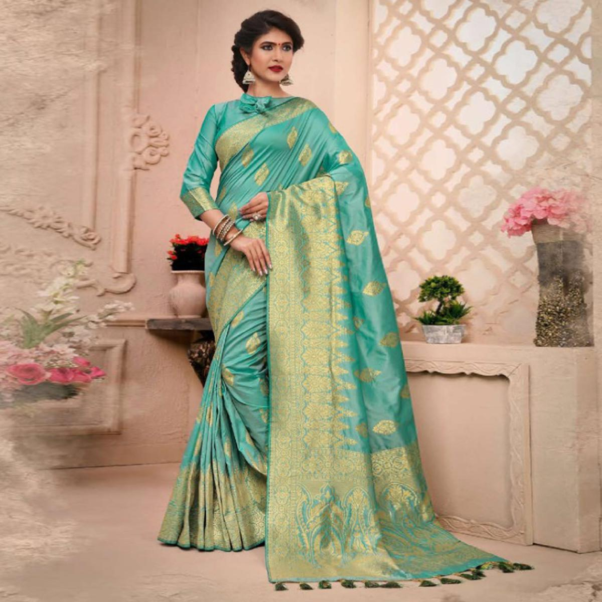 Glowing Turquoise Green Colored Partywear Woven Pure Banarasi Silk Saree
