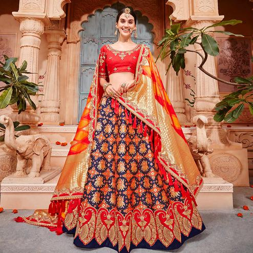 Charming Navy Blue & Red Colored Wedding Wear Pure Silk-Jacquard Lehenga Choli