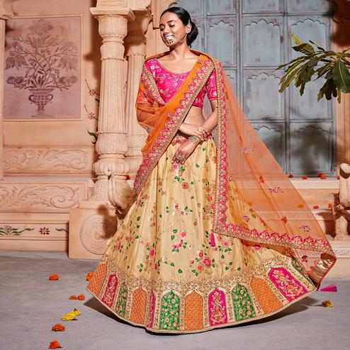 Ravishing Beige & Pink Colored Wedding Wear Pure Silk-Jacquard Lehenga Choli
