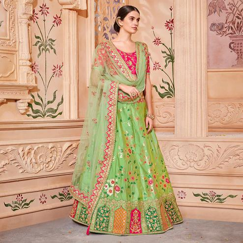 Delightful Green Colored Wedding Wear Pure Silk-Jacquard Lehenga Choli