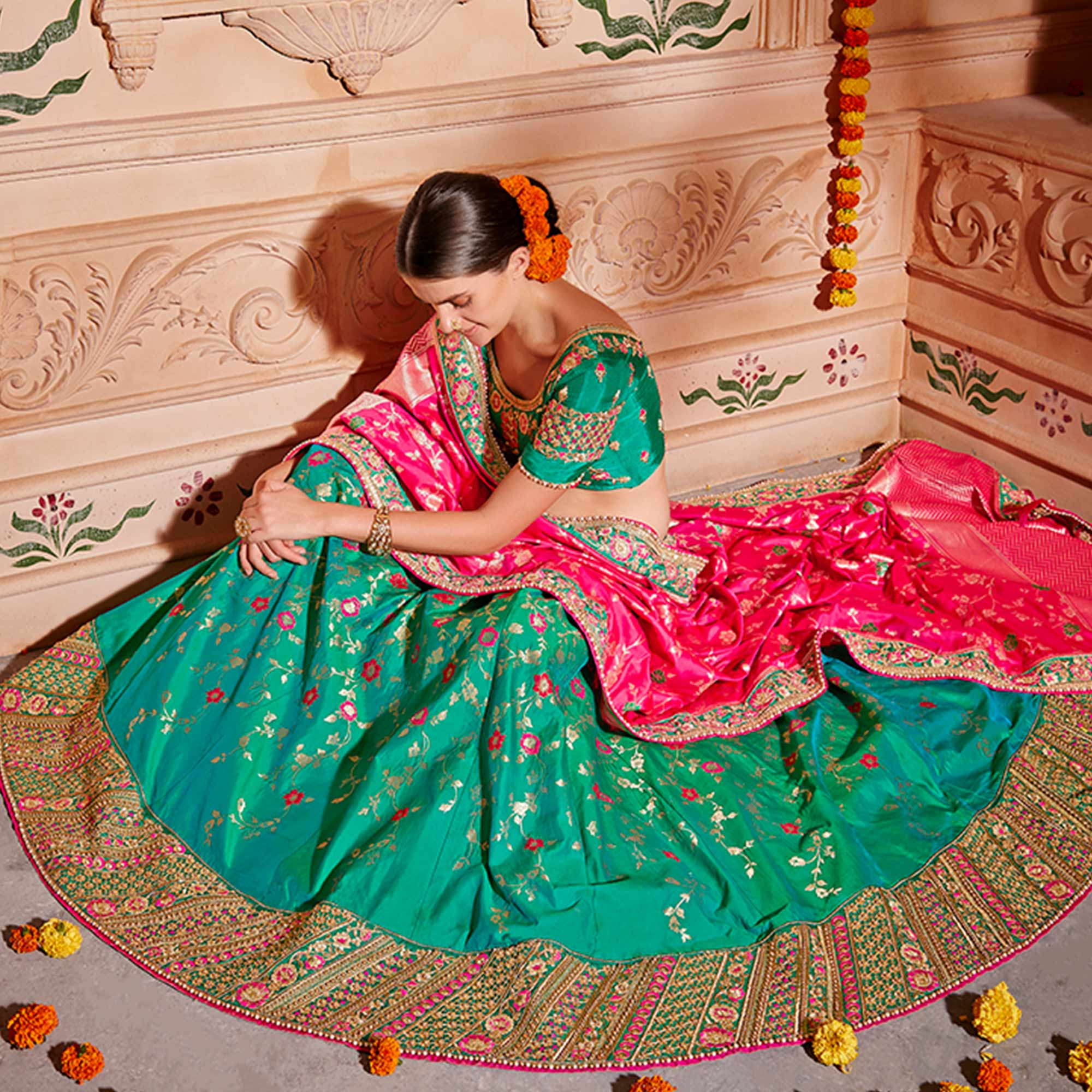 Stunning Dark Green Colored Wedding Wear Pure Silk-Jacquard Lehenga Choli