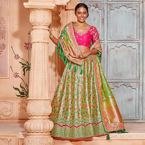 Blooming Beige & Green Colored Wedding Wear Pure Silk-Jacquard Lehenga Choli