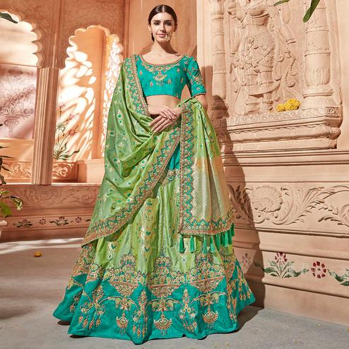 Marvellous Green Colored Wedding Wear Pure Silk-Jacquard Lehenga Choli
