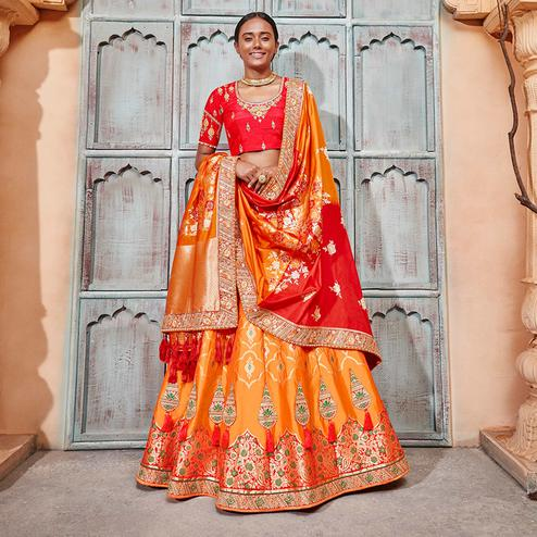 Mesmerising Orange & Red Colored Wedding Wear Pure Silk-Jacquard Lehenga Choli