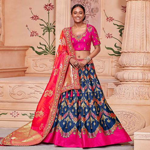 Ravishing Navy Blue & Pink Colored Wedding Wear Pure Silk-Jacquard Lehenga Choli