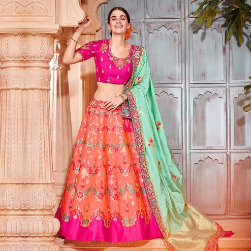 Eye-catching Dark Peach Colored Wedding Wear Pure Silk-Jacquard Lehenga Choli
