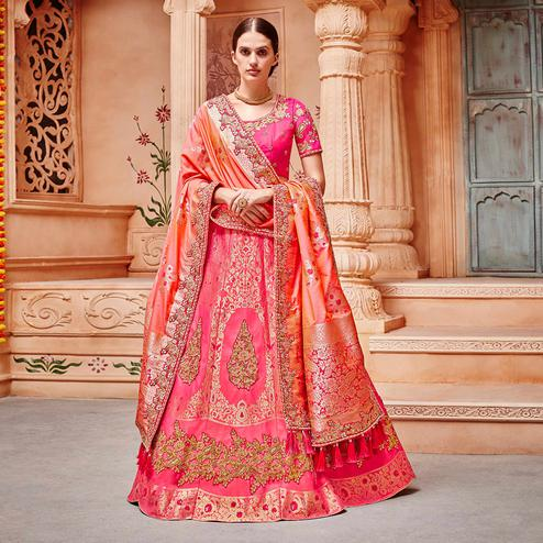 Amazing Pink Colored Wedding Wear Pure Silk-Jacquard Lehenga Choli