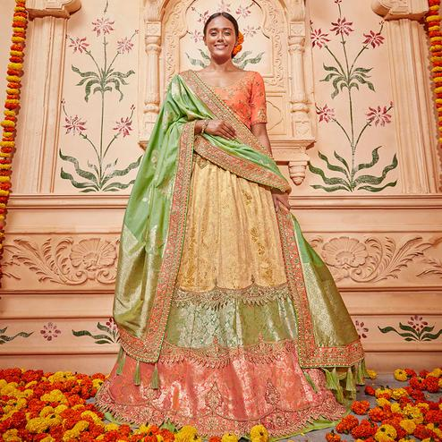 Exotic Multicolored Wedding Wear Pure Silk-Jacquard Lehenga Choli