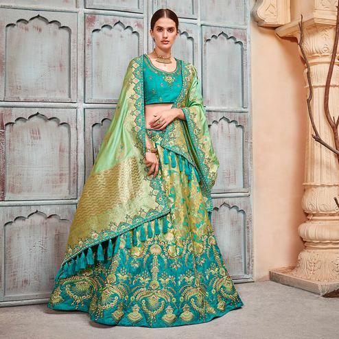 Majesty Teal Blue & Green Colored Wedding Wear Pure Silk-Jacquard Lehenga Choli