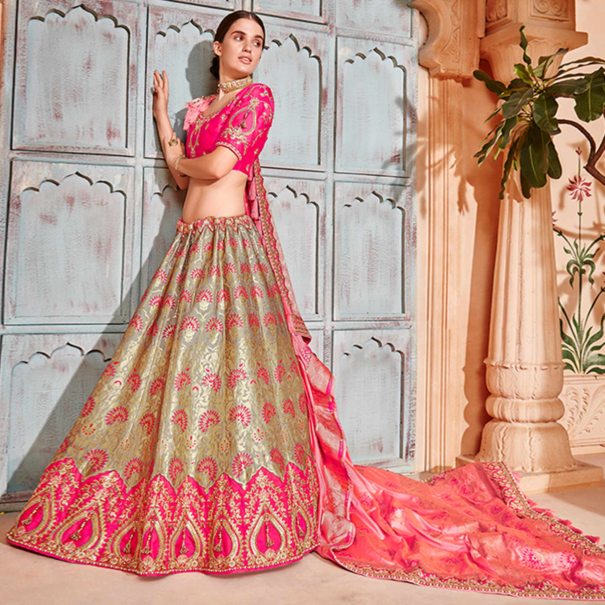 Preferable Grey & Pink Colored Wedding Wear Pure Silk-Jacquard Lehenga Choli