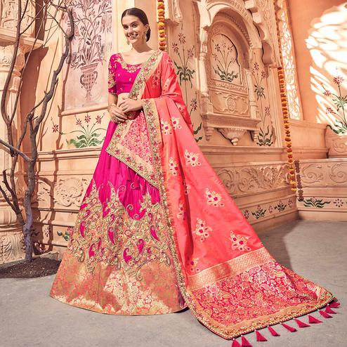 Attractive Dark Pink Colored Wedding Wear Pure Silk-Jacquard Lehenga Choli