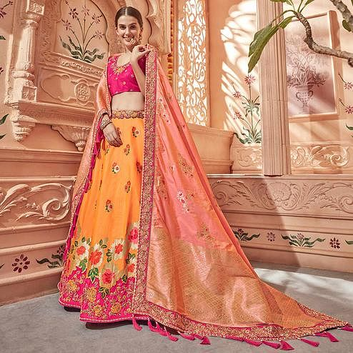 Beautiful Orange & Pink Colored Wedding Wear Pure Silk-Jacquard Lehenga Choli