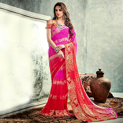 Pink - Red Georgette Saree with Satin Blouse