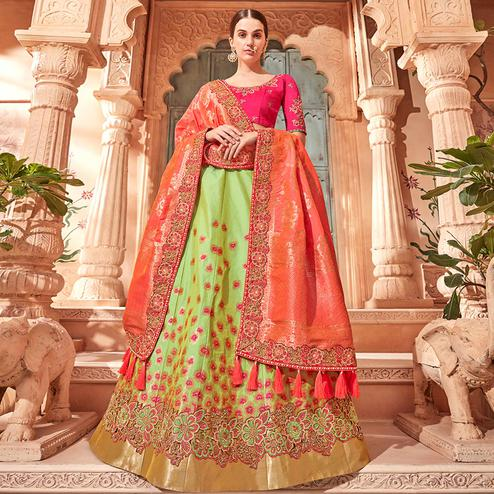 Gorgeous Green Colored Wedding Wear Pure Silk-Jacquard Lehenga Choli