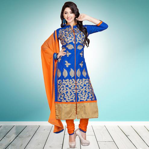 Adorable Royal Blue Colored Partywear Embroidered Cambric Cotton Dress Material