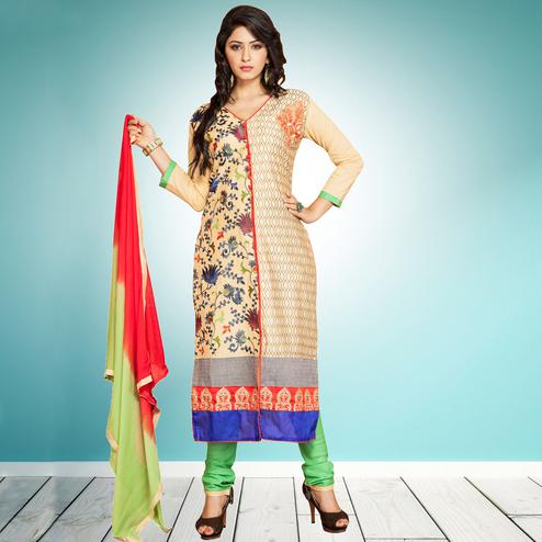 Appealing Beige Colored Partywear Embroidered Cambric Cotton Dress Material