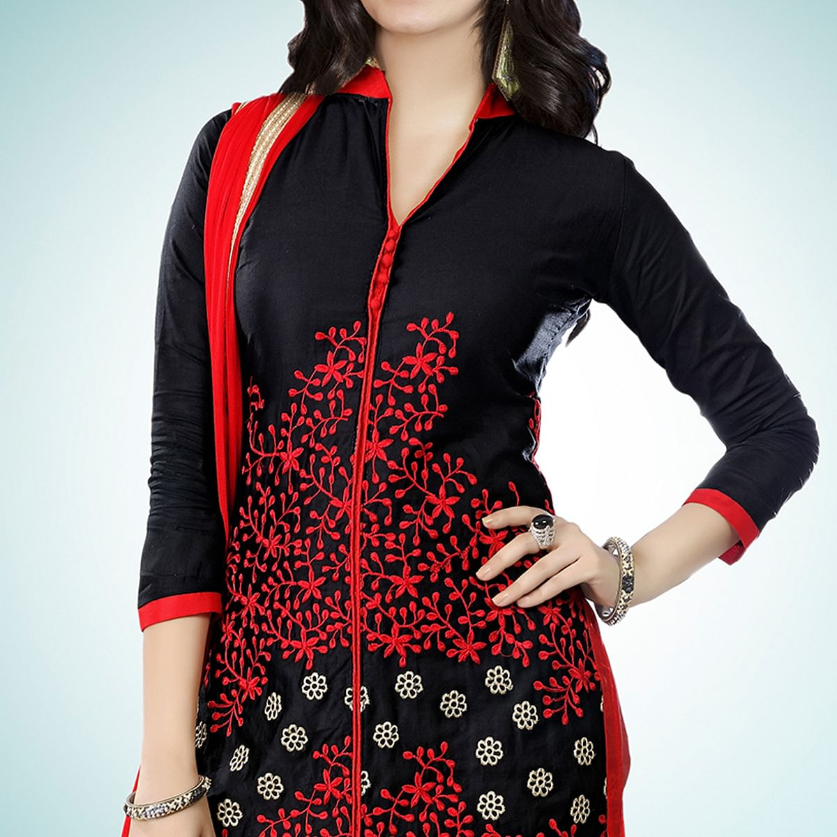 Impressive Black Colored Partywear Embroidered Cambric Cotton Dress Material