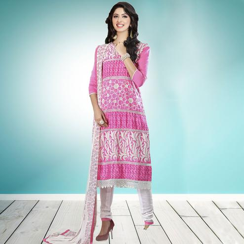 Classy Pink Colored Partywear Embroidered Cambric Cotton Dress Material