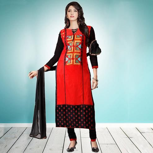 Lovely Red Colored Partywear Embroidered Cambric Cotton Dress Material