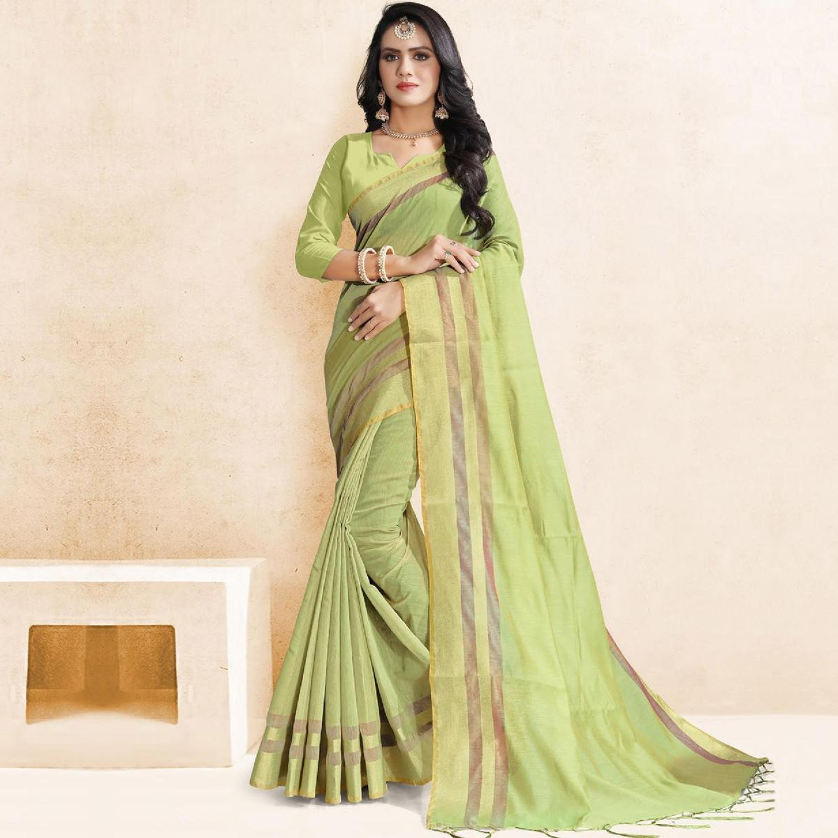 Opulent Pista Green Colored Festive Wear Manipuri Silk Saree