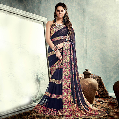 Navy Blue Printed Casual Saree