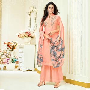 Intricate Peach Colored Party Wear Embroidered Upada Silk Palazzo Suit