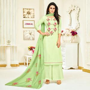 Desirable Aqua Green Colored Party Wear Embroidered Upada Silk Palazzo Suit