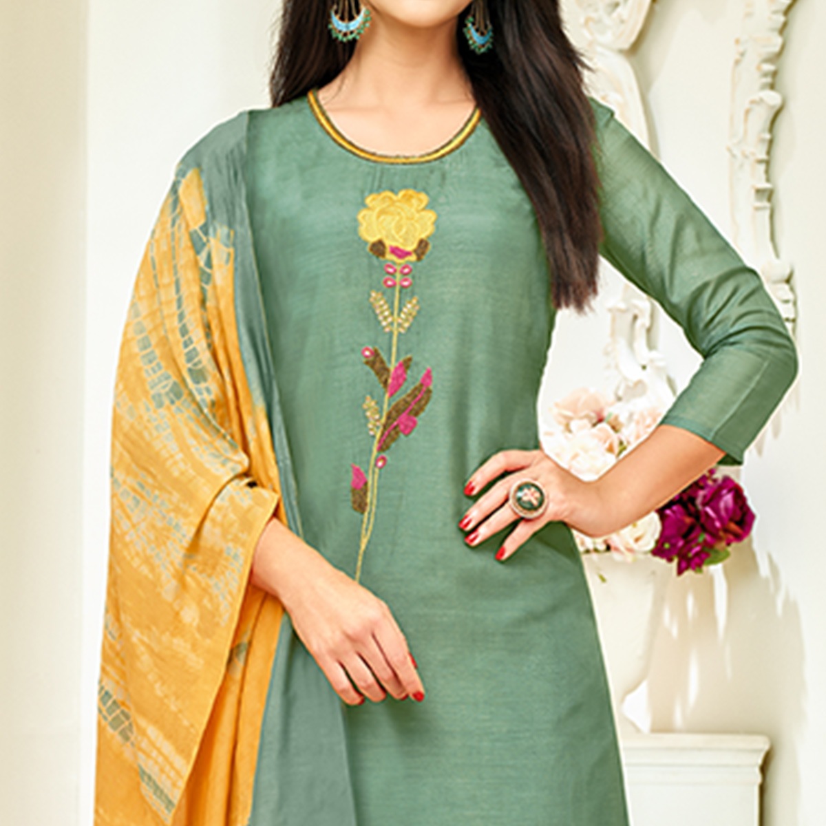 Sophisticated Green Colored Party Wear Embroidered Upada Silk Palazzo Suit