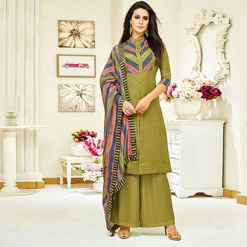 Demanding Olive Green Colored Party Wear Embroidered Upada Silk Palazzo Suit