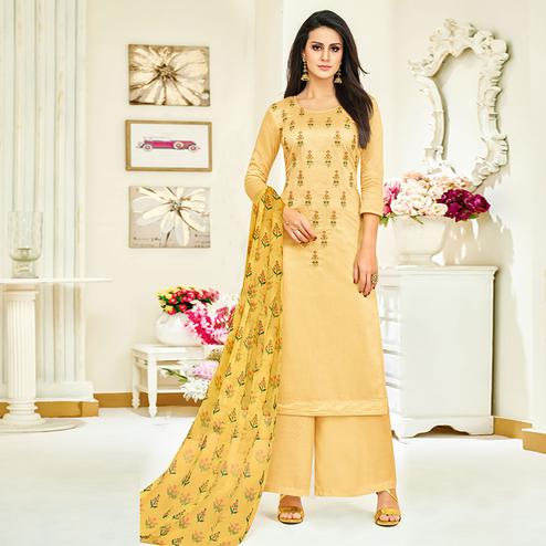 Pleasant Yellow Colored Party Wear Embroidered Upada Silk Palazzo Suit