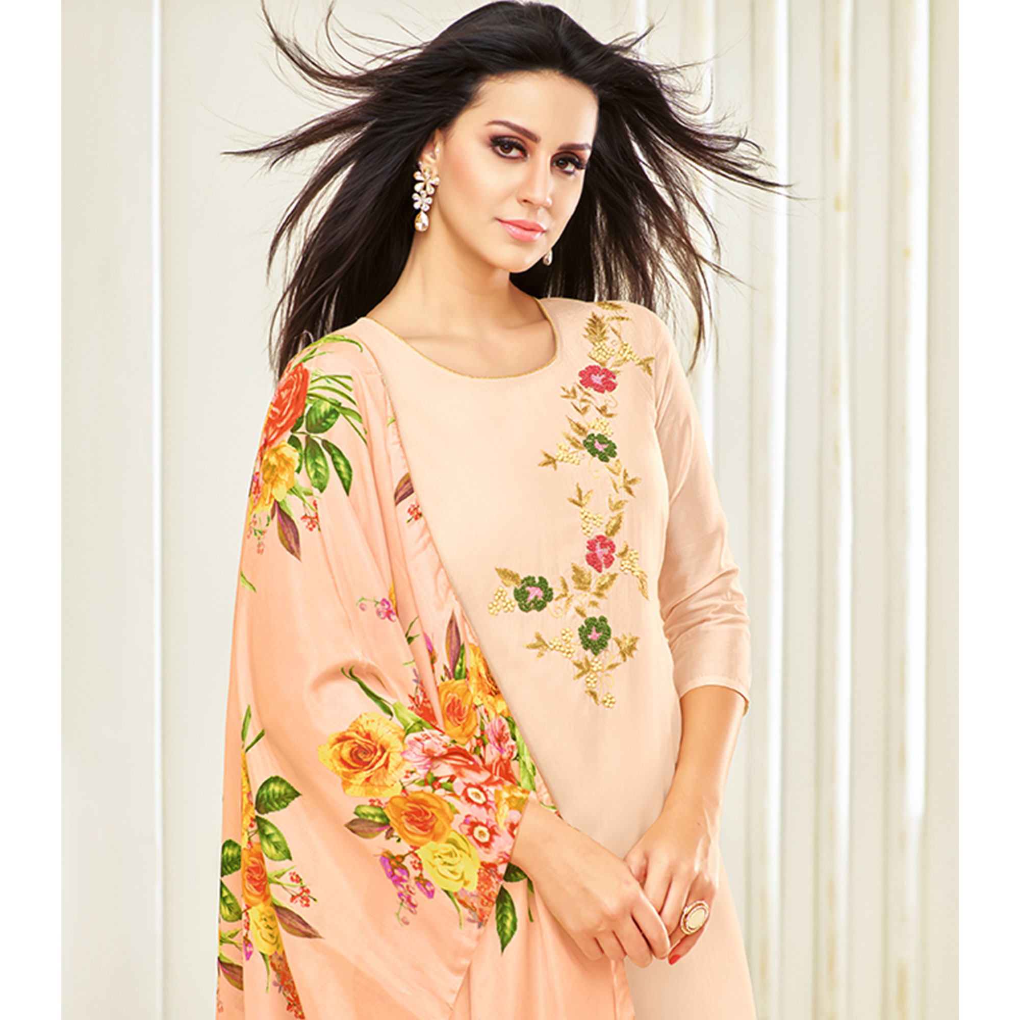 Unique Light Pink Colored Party Wear Embroidered Upada Silk Palazzo Suit