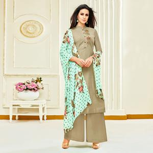 Refreshing Grey Colored Party Wear Embroidered Upada Silk Palazzo Suit