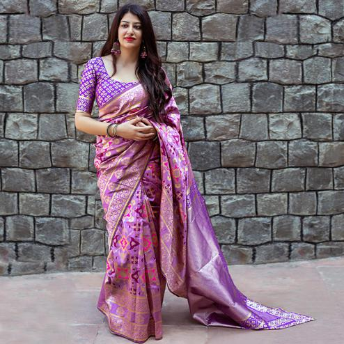 Intricate Purple Colored Party Wear Printed Banarasi Patola Silk Saree