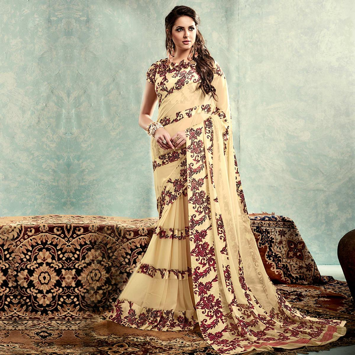 Cream Floral Print Georgette Saree
