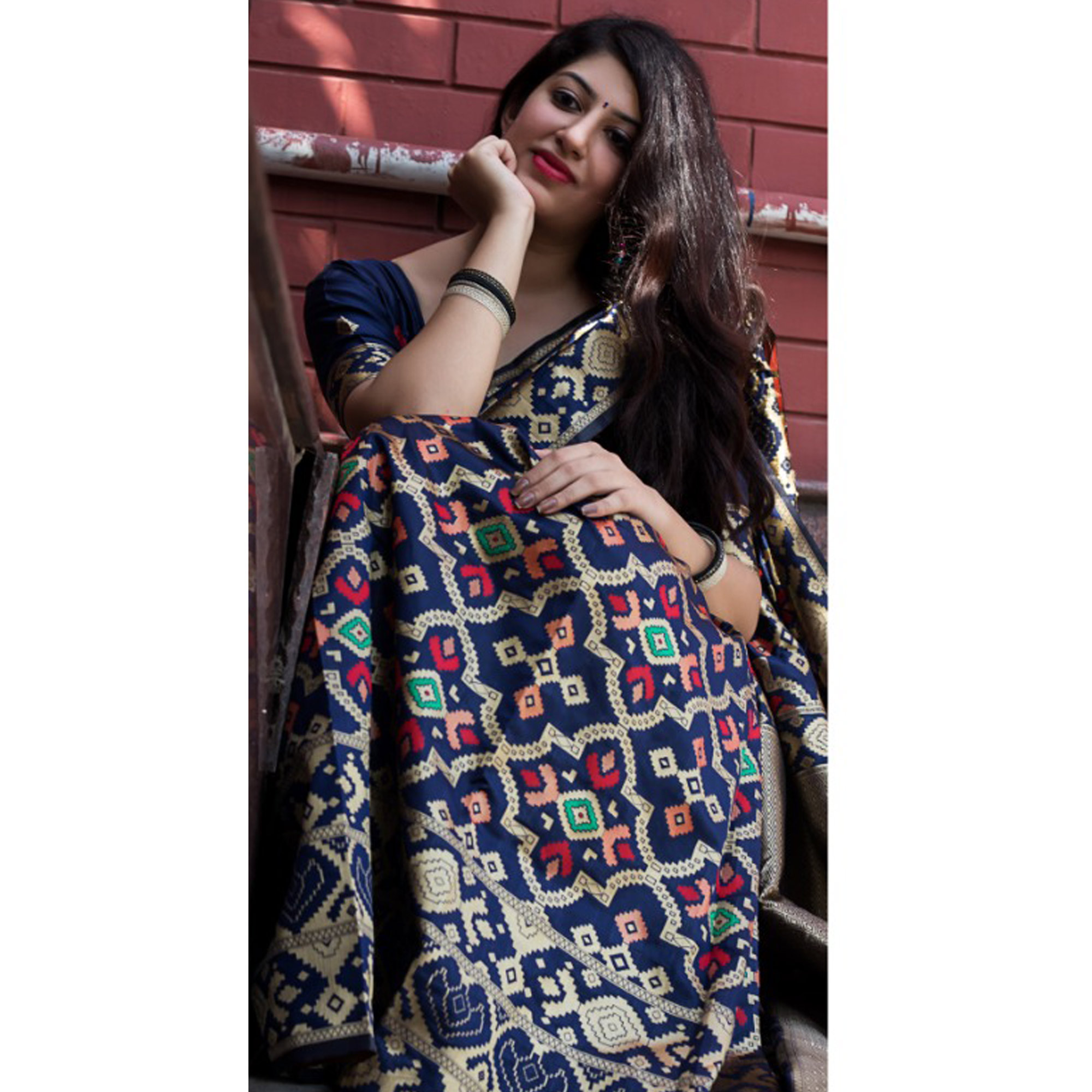 Desirable Navy Blue Colored Party Wear Printed Banarasi Patola Silk Saree