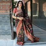 Unique Black Colored Party Wear Printed Banarasi Patola Silk Saree