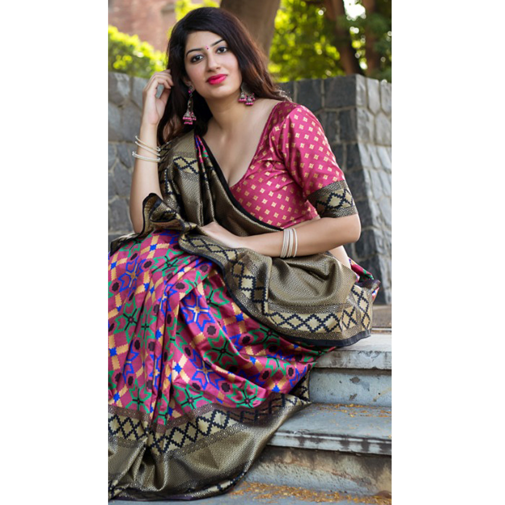 Elegant Multi Colored Party Wear Printed Banarasi Patola Silk Saree