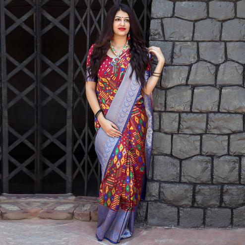 Alluring Maroon Colored Party Wear Printed Banarasi Patola Silk Saree