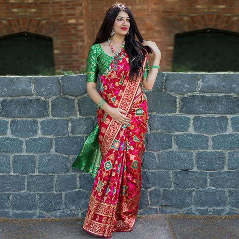 Radiant Red Colored Party Wear Printed Banarasi Patola Silk Saree