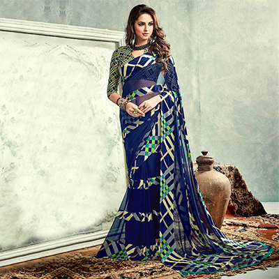 Navy Blue Georgette Saree with Satin Lace
