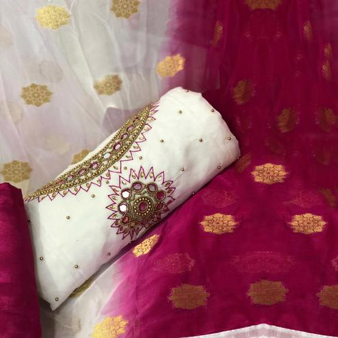 Impressive White-Pink Colored Partywear Embroidered Chanderi Silk Dress Material