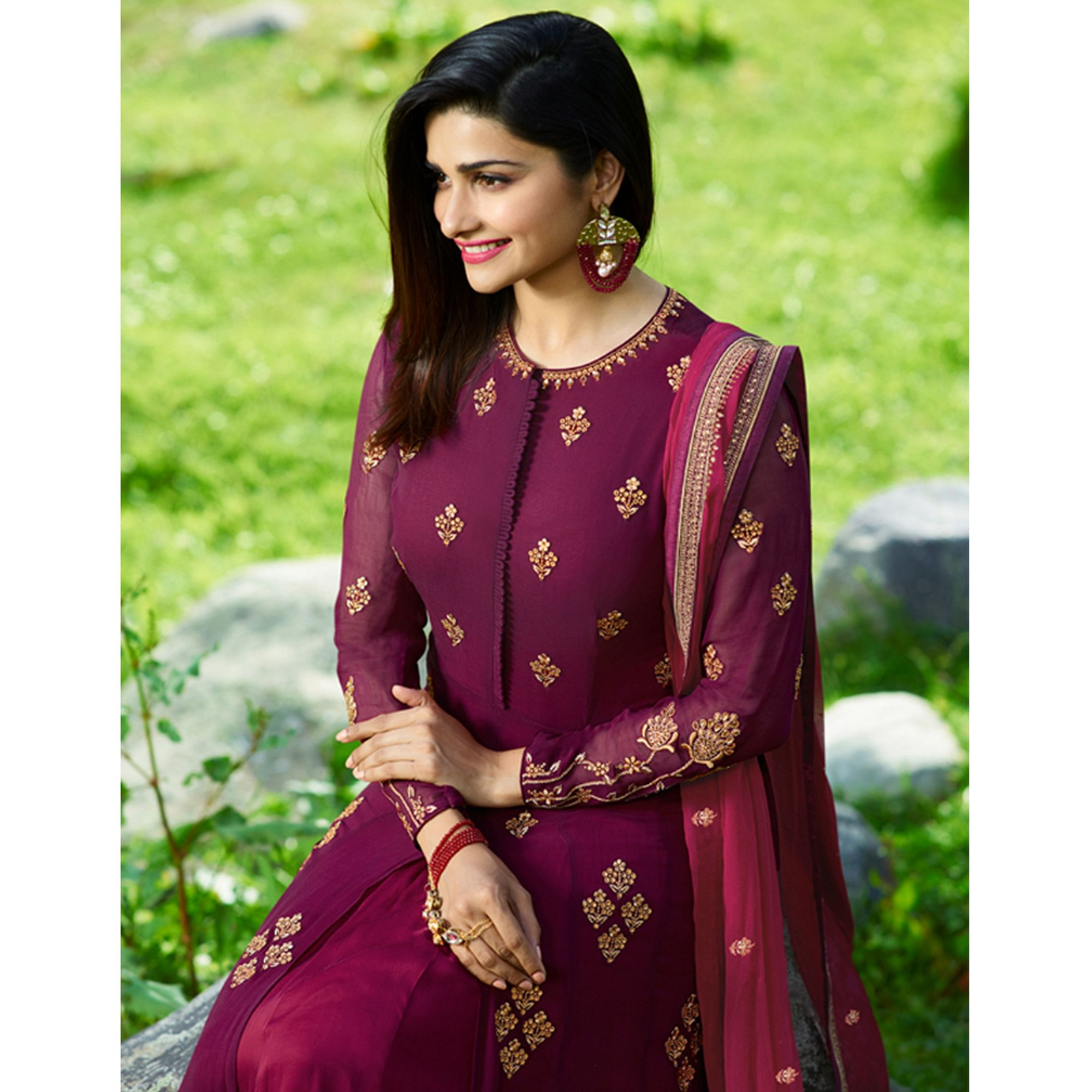 Gorgeous Purple Colored Party Wear Embroidered Georgette Satin Anarkali Suit