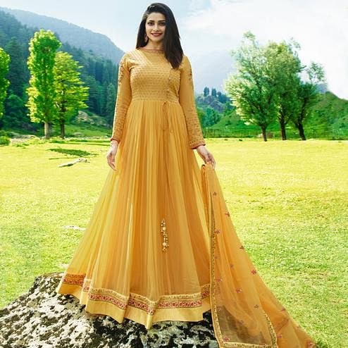 Classy Yellow Colored Party Wear Embroidered Georgette Anarkali Suit