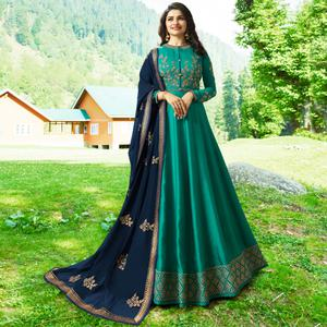 Glorious Rama Green Colored Party Wear Embroidered Art Silk Anarkali Suit