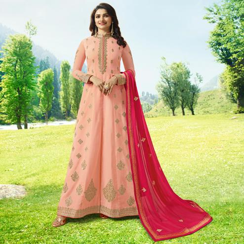Graceful Peach Colored Party Wear Embroidered Art Silk Anarkali Suit
