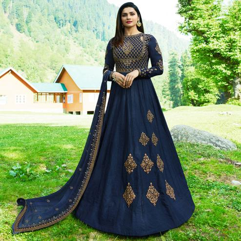 Lovely Navy Blue Colored Party Wear Embroidered Art Silk Anarkali Suit
